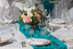 Elegance table set up for wedding in the restaurant Royalty Free Stock Images
