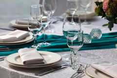 Elegance table set up for wedding in the restaurant Royalty Free Stock Photo