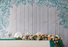 Elegance table set up for wedding in the restaurant Stock Photos