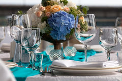 Elegance table set up for wedding in the restaurant Stock Images