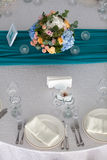 Elegance table set up for wedding in the restaurant Royalty Free Stock Photography
