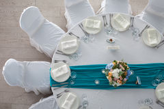 Elegance table set up for wedding in the restaurant Stock Photo
