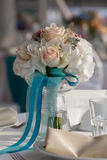 Elegance table set up for wedding in turquoise Royalty Free Stock Photo