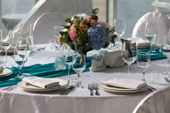 Elegance table set up for wedding in turquoise Royalty Free Stock Photography