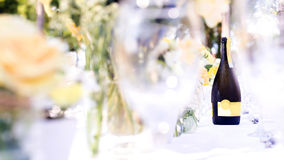 Elegance table set up white, green and yellow flowers theme, sel Stock Image