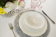 Elegance table setting. Close-up of elegance table setting Royalty Free Stock Images
