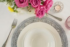 Elegance table setting. Overhead of elegance table setting Royalty Free Stock Images