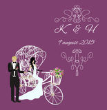 Elegance vintage bride and groom. Invitation, elegance vintage bride and groom on a white tricycle with flowers Royalty Free Stock Images