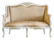 Elegance vintage chair. Elegance golden color cloth vintage chair isolated on white Royalty Free Stock Image