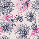 Elegance  vintage dahlia flowers seamless pattern. Hand drawn elegance  dahlia flowers seamless pattern.  All objects are conveniently grouped on different Stock Photo
