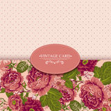 Elegance Vintage Floral Card with Roses Royalty Free Stock Image