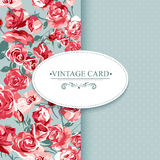 Elegance Vintage Floral Card with Roses Stock Image