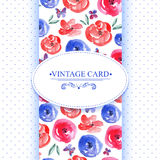 Elegance Vintage Floral Card with Roses Stock Photo