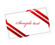 Elegance visit card. Elegance card with beautiful red and silver ribbon Royalty Free Stock Photo