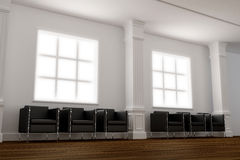 Elegance waiting room. 3D interior - Elegance waiting room on public building Royalty Free Stock Image
