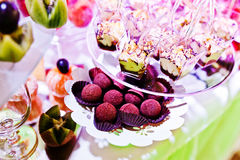 Elegance wedding reception table with food and decor. Sweet cack Stock Photos