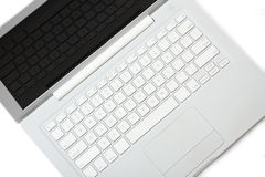 Elegance white laptop. Apple MacBook. White Apple MacBook laptop with keyboard reflection on display. Isolated on white background Stock Images