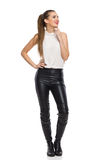 Elegance Woman Smiling In Leather Trousers Royalty Free Stock Photos
