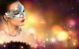 Elegance Woman Wearing Carnival Mask Stock Photography