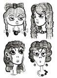 eleganci piękna rysunkowa dziewczyna Obrazy Stock