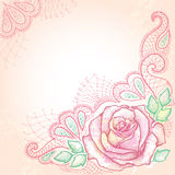 Eleganci tło z kropkowanym róża kwiatem i dekoracyjną koronką na textured tle z kleksami w pastelowych kolorach Fotografia Royalty Free