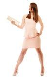 elegancia Integral de muchacha en vestido rosado y con el bolso Fotos de archivo