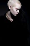 elegancia Mujer de moda aristocrática en abrigo de pieles con Bob Hairstyle Fotografía de archivo