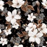 Elegancja bezszwowy wzór z białymi jabłko kwiatami 1 i złotymi elementami ilustracji