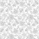 Elegancja bezszwowy wzór z etnicznymi kwiatami, royalty ilustracja