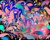 Elegancja kolorowego rocznika kwiecisty wektorowy bezszwowy wzór Jaskrawy piękny ornamentacyjny tło w renaissance stylu powtórka royalty ilustracja