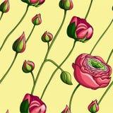 Elegancja koloru peoni Bezszwowy wzór na żółtym tle, ilustracja wektor