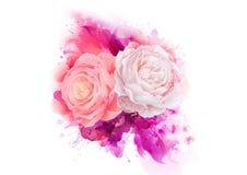 Elegancja kwiatów bukiet menchia koloru róże Skład z okwitnięciem kwitnie na artystycznym abstrakcjonistycznym tle ilustracji