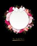 Elegancja kwiatów rama kolor róże Skład z okwitnięcie kwiatami ilustracja wektor