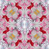 Elegancja kwiecisty ornamentacyjny wektorowy bezszwowy wz ilustracji