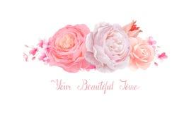 Elegancja kwitnie bukiet koloru tulipan i róże Skład z okwitnięcie kwiatami ilustracja wektor