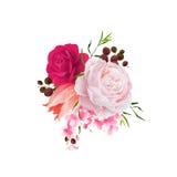 Elegancja kwitnie bukiet koloru tulipan i róże Skład z okwitnięcie kwiatami również zwrócić corel ilustracji wektora ilustracja wektor
