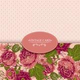 Elegancja rocznika Kwiecista karta z różami ilustracji