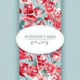 Elegancja rocznika Kwiecista karta z różami royalty ilustracja