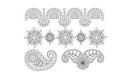Elegancja rocznika projekta monochromatyczni elementy, abstrakcjonistyczna kwiecista ręka rysujący mandala stylizowali ornamentu  ilustracji