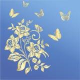 Elegancja wzór z kwiatu narcyzem na błękitnym tle royalty ilustracja