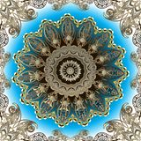 Elegancji Paisley ozdobny złocisty wektorowy bezszwowy wzór Piękny kwiecisty języka arabskiego stylu round koronki mandala Orname ilustracja wektor