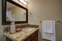 Elegancka łazienka z mahoniową pobrudzoną bezcelowością zdjęcia royalty free