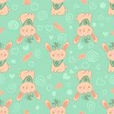 Elegancka bezszwowa tekstura z doodled kreskówka królikami Fotografia Royalty Free