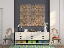 Elegancka biała klatka piersiowa kreślarzi i drewniani krzesła fotografia stock