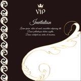 Elegancka brąz karta dla vip zaproszeń i powitań W wiktoriański stylu z ulistnieniem, Obrazy Royalty Free