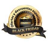 Elegancka czarna i złota tasiemkowa Black Friday odznaka projektująca dla Hiszpańskiego rynku sprzedaży detalicznej royalty ilustracja