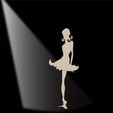 Elegancka czarna sylwetka kobieta z sercami Zdjęcia Stock