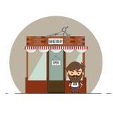 Elegancka fryzjer męski pozycja na ulicie Zdjęcia Royalty Free