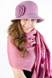 elegancka kapeluszu menchii szalika kobieta Obraz Royalty Free