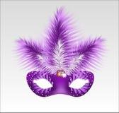Elegancka karnawał maska z pięknymi piórkami Fotografia Royalty Free